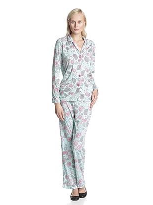 BH PJ's by BedHead Pajamas Women's Classic Notch Collar Pajama Set (Paisley Sky Blue)