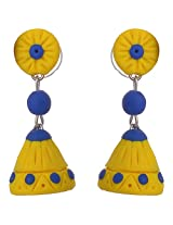 nidarsha Metal Dangle & Drop Earrings for Women (Yellow)