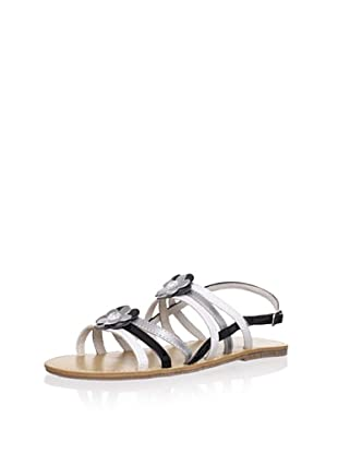 L'Amour Shoes Kid's Strappy Flower Sandal (White/Black)