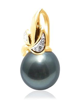 Manufacture Royale Colgante de Oro Amarillo 9 ct con Diamantes y Perla Cultivada de Tahití (9-10 mm)