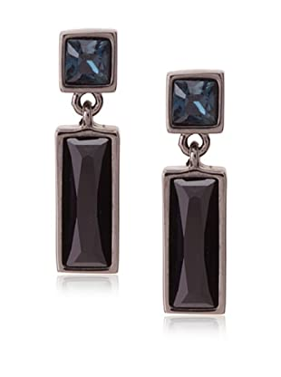 Judith Leiber Rectangular Gunmetal Drop Earrings