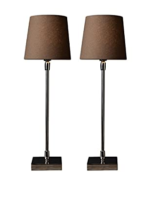 Filament Set of 2 Slim Square Base Table Lamps, Brown/White
