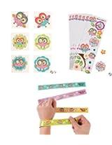 Owl Youre a Hoot Party Favor/(2 Dozen) Stickers/ (6 Dozen) Tattoos/ (1 Dozen) Slap Bracelets