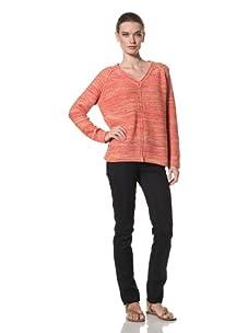 525 America Women's Tweed Center Seam Sweater (Heirloom Tomato Combo)