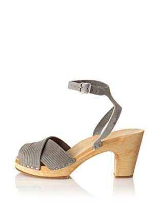 Swedish Hasbeens Women's Strappy Sandal (Grey Nubuck)