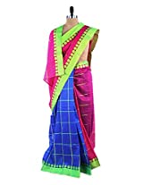 Amazing pink and blue colour blocked saree with blouse piece