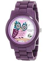 Sprout Women's ST/5034MPPR Purple Corn Resin Bracelet Owl Dial Eco-Friendly Watch
