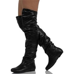 Nature Breeze Women's Vickie Hi Faux Suede Boot Vickie-Hi2.0 Premium Black PU 8.5