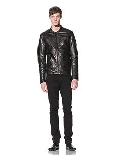 EDUN Men's Seamed Leather Jacket (Black)