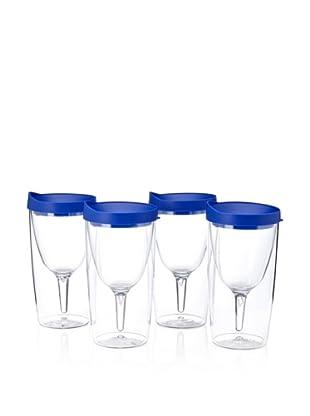 AdNArt Set of 4 Vino 2 Go Cups (Blue)
