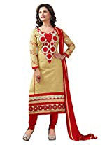 Sonal Trendz Beige Color Embroidery Semi-Stitched Suit.