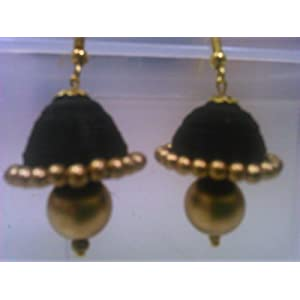 Elegant black medium paper jhumkas with antique golden embellishments