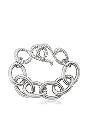 Riccova Links Satined & Hammered Heavy Link Bracelet, Silver