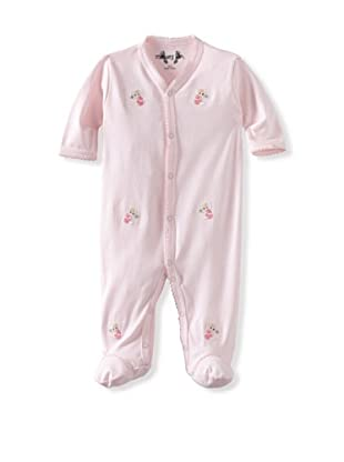 Margery Ellen Baby Pima Cotton Footie with Embroidery (Pink Elephant)