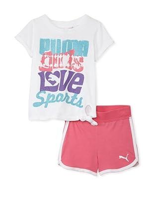 PUMA Girl's 2-6x Jersey Tee & Short Set (White)