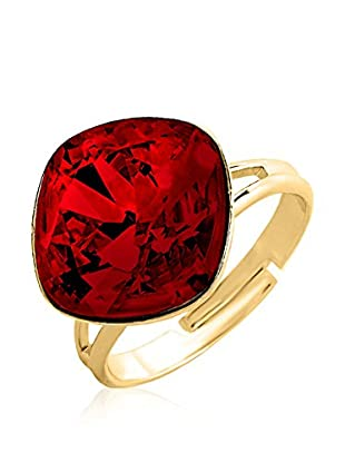 Swarovski Elements by Philippa Gold Ring Crystal Rounded Square Ring