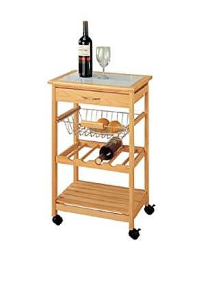Organize It All Bamboo Kitchen Cart with Basket