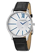 Stuhrling Original Men's 553.33152 Classic Cuvette SD Stainless Steel and Black Leather Watch