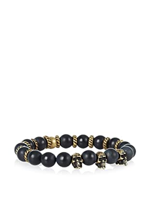 Ettika Men's Black Agate Stretch Bracelet