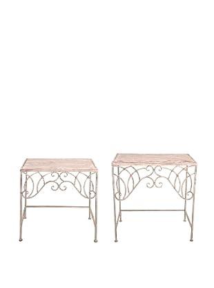 Esschert Design USA Set of 2 Tall Aged Metal Side Tables