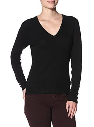 Cashmere Addiction Women's Long Sleeve V-Neck Sweater (Black)