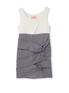 Kiddo Girl's Knotted Ruffle Dress (White/Gray)