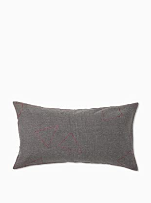 Coyuchi Embroidered Pebbled Pillow Sham (Dark Gray)