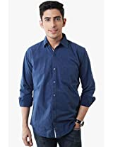Blue Regular Fit Casual Shirt Lee Marc