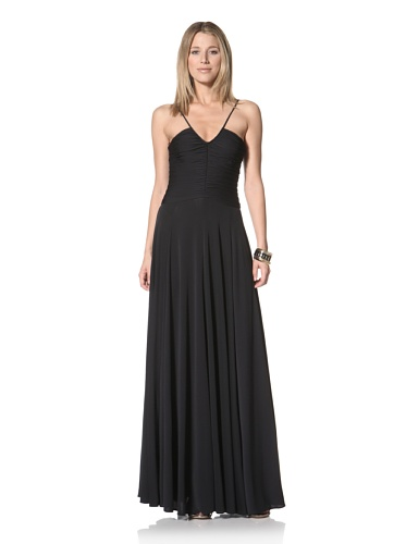 Halston Heritage Women's Halter Gown with Shirred Bodice (Black)