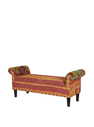 One of a Kind Kantha Roll Arm Bench, Red Multi