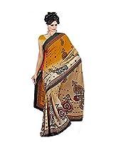 Amit Fashion Crape Dark Yellow Cream Colored Saree