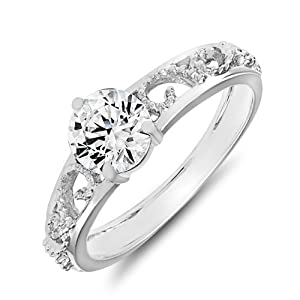 Mahi Rhodium Plated Remarkable Solitaire Finger Ring Made with Swarovski Zirconia for Women FR1105004R12