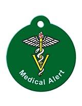 BARKCODE Medical Alert Line Caduceus QR Code Pet ID Tag, Large, Hunter Green