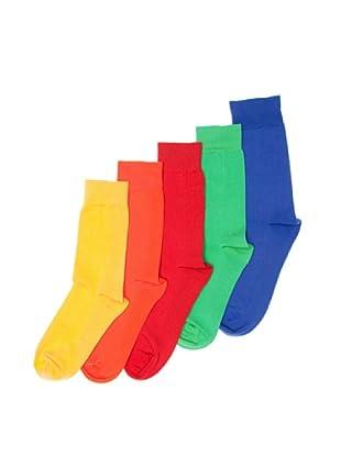 Sockaholic Pack de 5 Pares Calcetines Caña Baja Lisos Cristal+Vibrante+Rojo+Amarillo+Naranja (Multicolor)