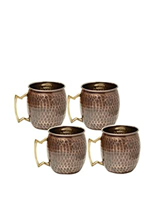 Old Dutch International Set of 4 Solid Copper 16-Oz. Hammered Moscow Mule Mugs