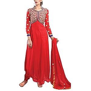 Semi Stitched Orange Anarkali Suit