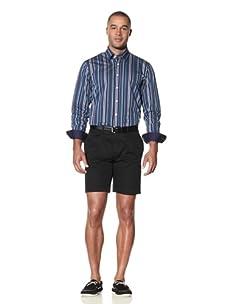 Report Collection Men's Bold Striped Shirt (Aqua)