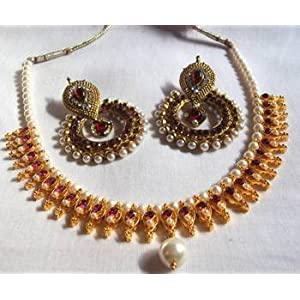 Necklace sets - Maroon Polki Necklace Set