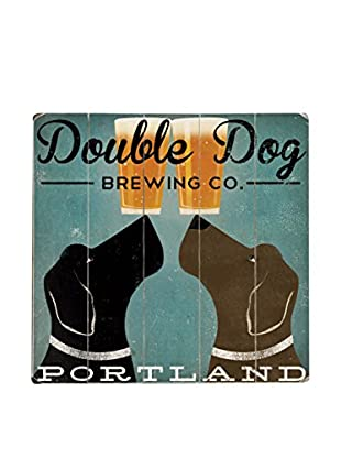 Artehouse Double Dog Brewing Co. Wood Wall Décor, Blue/Black/Brown