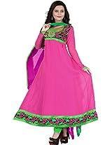 Vardhamn Women's SAKH1 Pink Georgette Unstitched salwar suit dress material