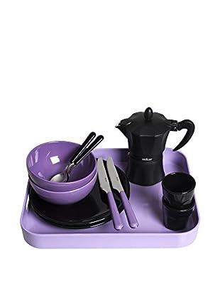 Molecuisine Frühstückservice 12 tlg. Set flieder/schwarz