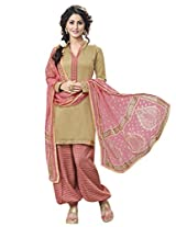 Inddus Women Copper & Pink Cotton Satin Unstitched Dress Material