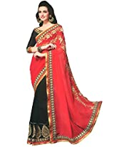 Faux Georgette Red & Black Colour Saree for Party Wear