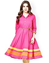 Trendz Women's pink Solid 3/4 Sleeve Cotton Kurtas