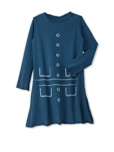 Teres Kids Girl's Pockets and Buttons A-Line Dress (Prussian Blue)