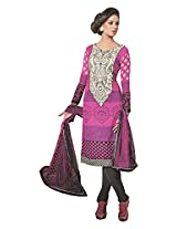 EMBROIDERED COTTON SUIT WITH FAUX CHIFFON DUPPATTA jd-6304a