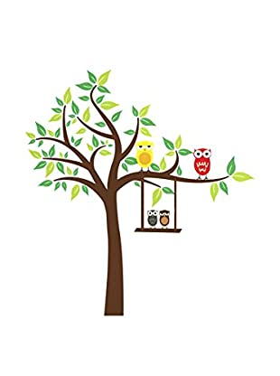 LO+DEMODA Vinilo Decorativo Owls And Tree Multicolor