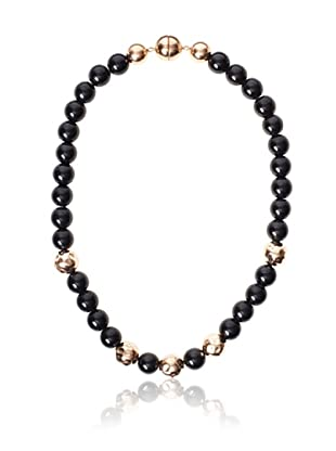 Chloe Collection By Liv Oliver Rose Hammered & Black Bead Necklace