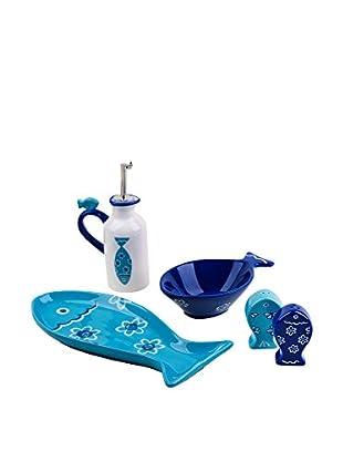 Molecuisine Küchen Zubehör 5 tlg. Set Ocean weiß/himmelblau