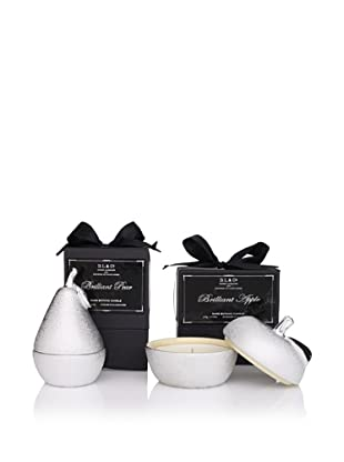 D.L. & Co. Brilliant Apple and Pear Candle Gift Set, Silver